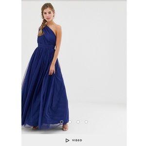 ASOS Tulle One Shoulder Maxi Dress